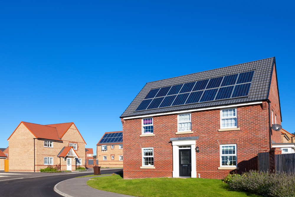 House in UK with integrated solar panels